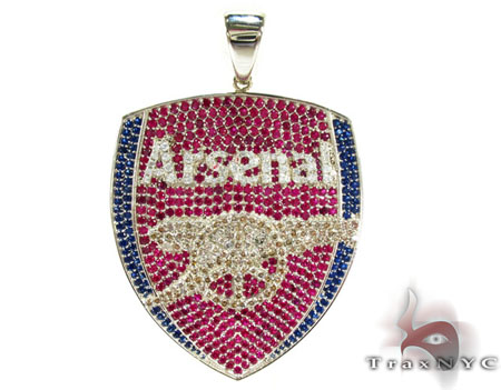 Custom silver cz arsenal pendant mens metal 925 silver traxnyc custom silver cz arsenal pendant mozeypictures Image collections