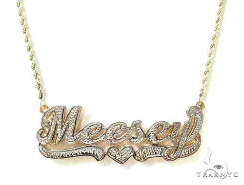 Custom jewlery name necklace ladies gold yellow gold 10k aloadofball