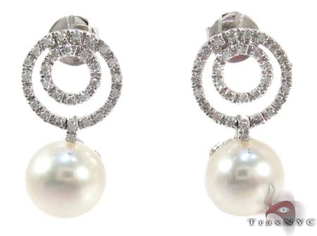 Dangle Diamond White Pearl Earrings Stone