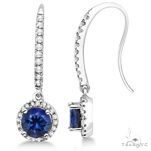 Dangle Diamond and Round Tanzanite Earrings 14k White Gold Stone