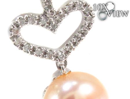 Dangle Heart Diamond Pearl Earrings Stone