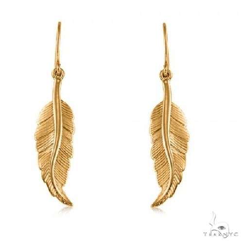 Dangling Feather Earrings in Plain Metal 14k Yellow Gold Metal