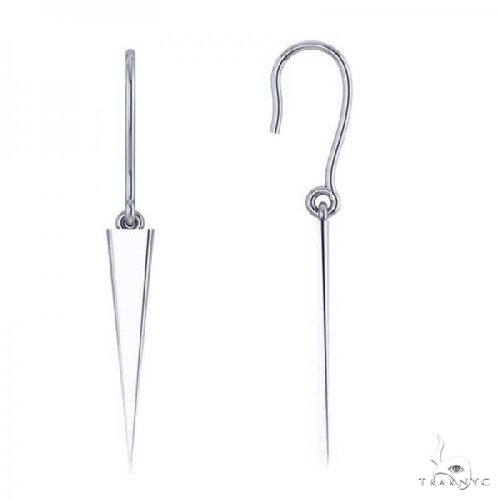 Dangling Spike Earrings in Plain Metal 14k White Gold Metal