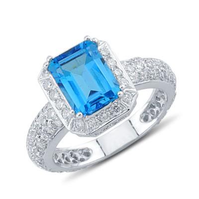 dazzling emerald cut blue topaz pave gemstone ring