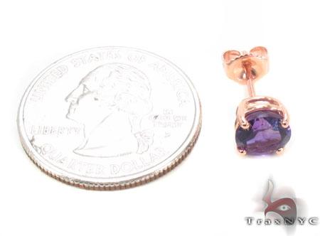 14k Rose Gold Deep Amethyst Earrings 33423 Stone