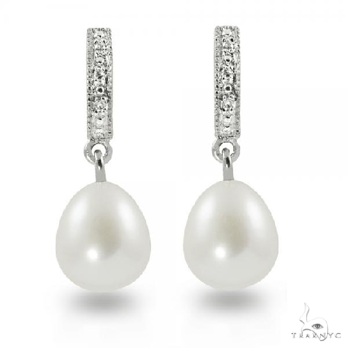 Diamond Accented Freshwater Pearl Drop Earrings Sterling Silver 8-9mm Stone