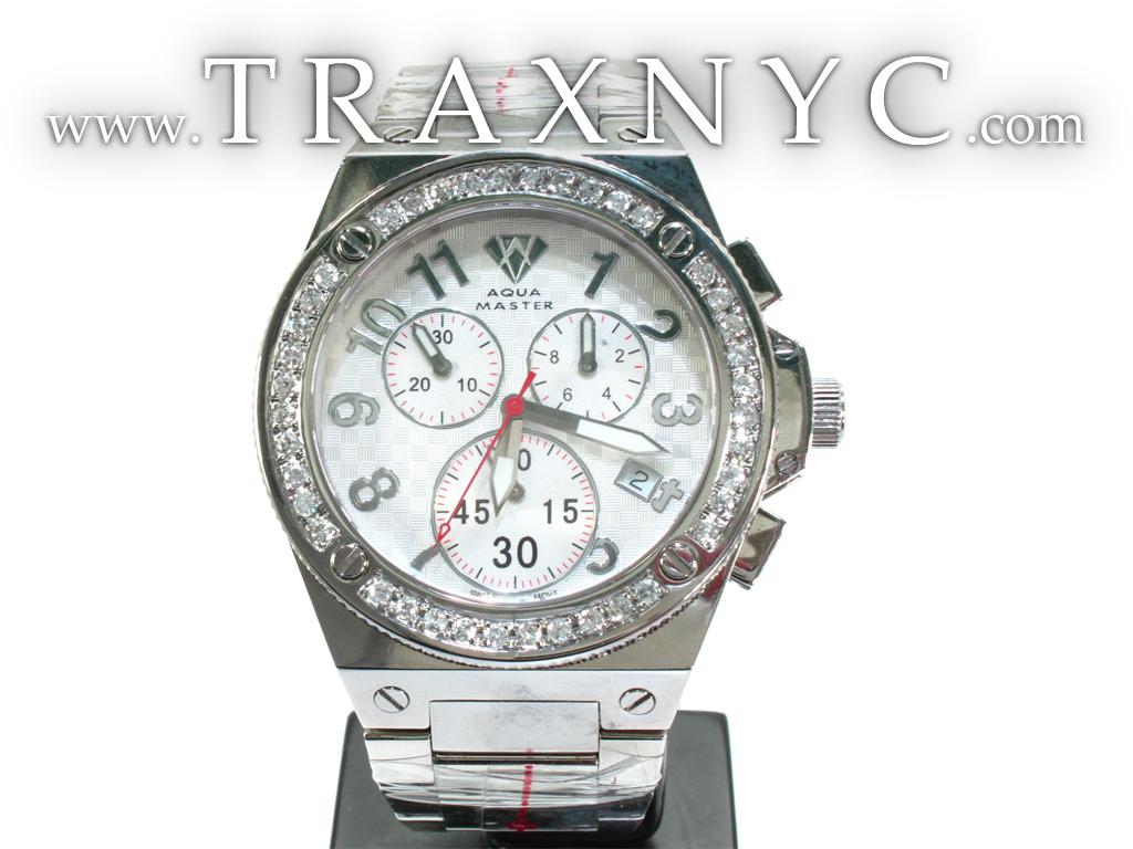 Diamond bezel aqua master watch 110 mens aqua master white stainless steel for Aqua marine watches
