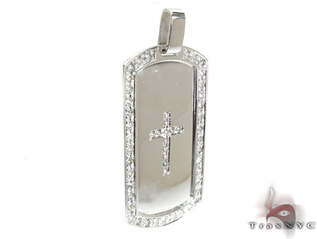 Diamond Cross Dog Tag Style