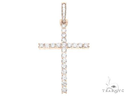 Custom 14K Rose Gold Prong Diamond Cross Pendant 65248 ダイヤモンド クロス