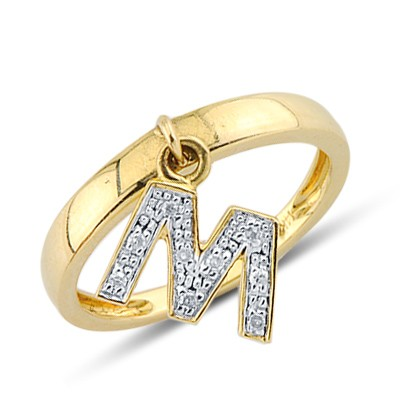 Diamond Letter M Fashion Ring In 14K Yellow Gold 30149