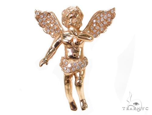 Diamond Rose Gold Angel Pendant Metal