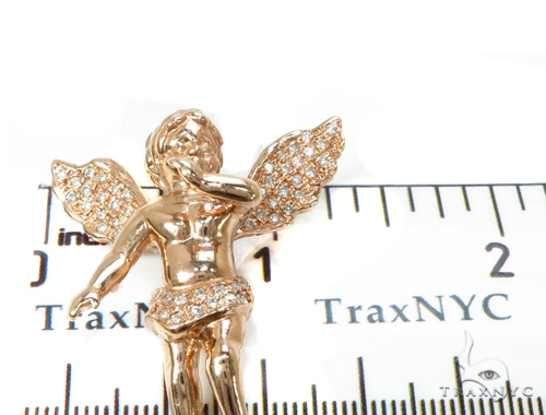 Diamond Rose Gold Angel Pendant Metal