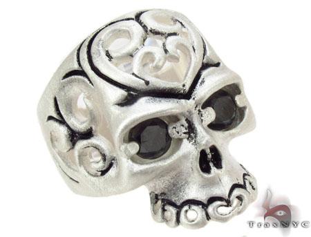Mens Silver Skull Ring Metal