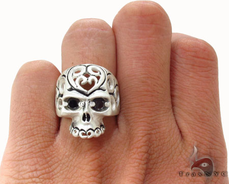 Mens Silver Skull Ring Metal
