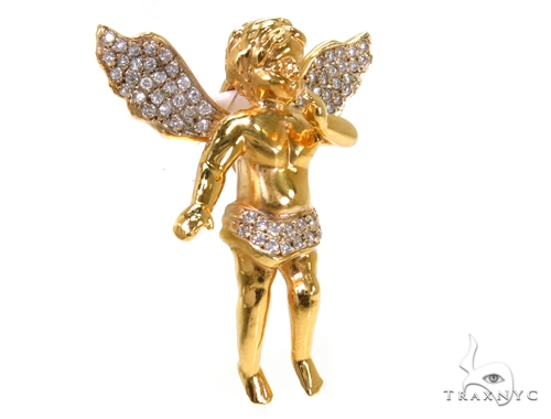 Diamond Yelllow Gold Angel Pendant Metal