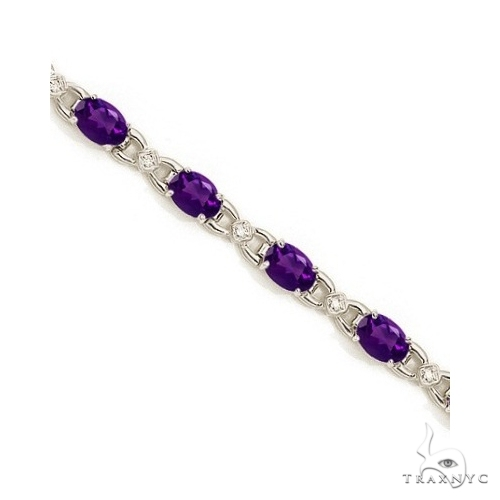 Diamond and Amethyst Bracelet 14k White Gold Gemstone & Pearl
