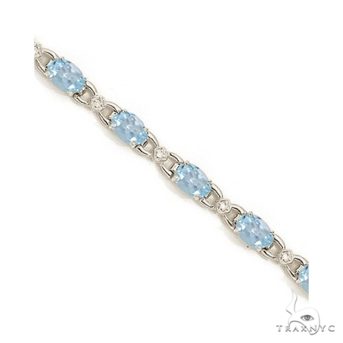 Diamond and Aquamarine Bracelet 14k White Gold Gemstone & Pearl