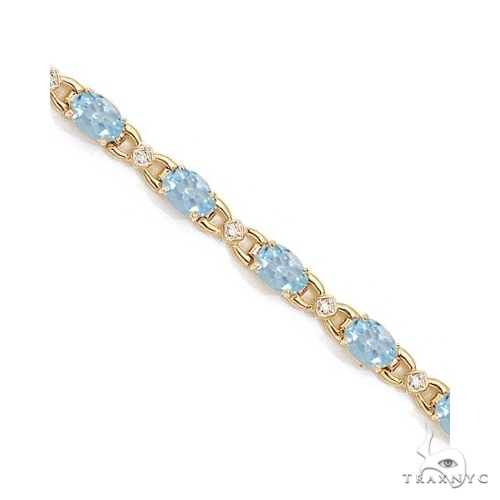 Diamond and Aquamarine Bracelet 14k Yellow Gold Gemstone & Pearl