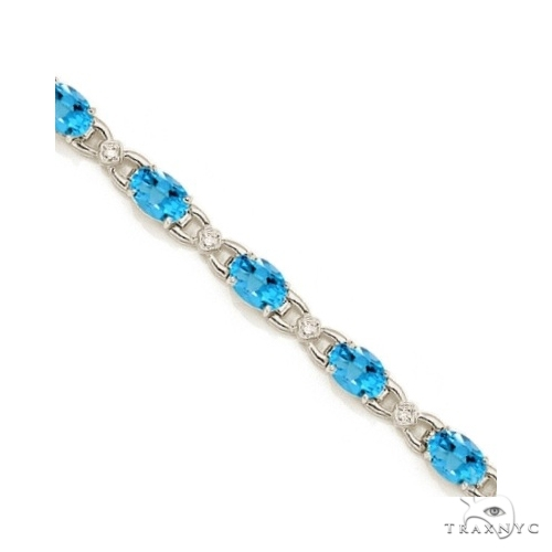 Diamond and Blue Topaz Bracelet 14k White Gold Gemstone & Pearl