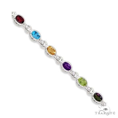 Diamond and Multicolor Gemstone Bracelet 14k White Gold Gemstone & Pearl