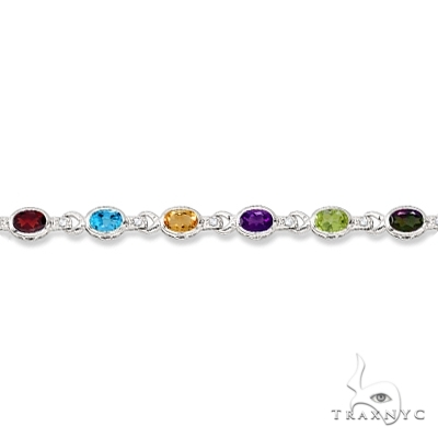 Diamond and Multicolor Gemstone Bracelet 14k White Gold Gemstone & Pearl