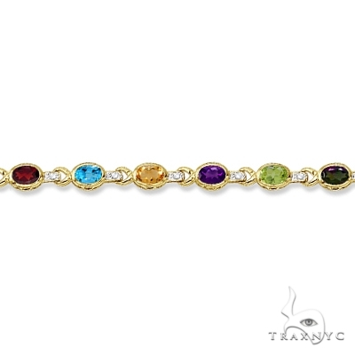 Diamond and Multicolor Gemstone Bracelet 14k Yellow Gold Gemstone & Pearl