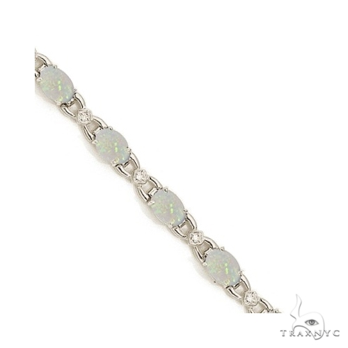 Diamond and Opal Bracelet 14k White Gold Gemstone & Pearl