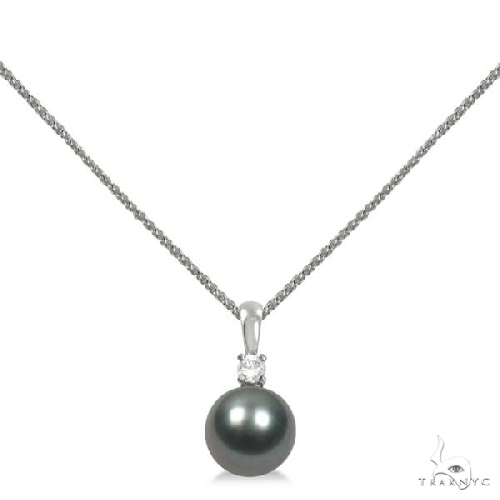 Diamond and Tahitian Black Pearl Solitaire Pendant 14K White Gold 9-10mm Stone