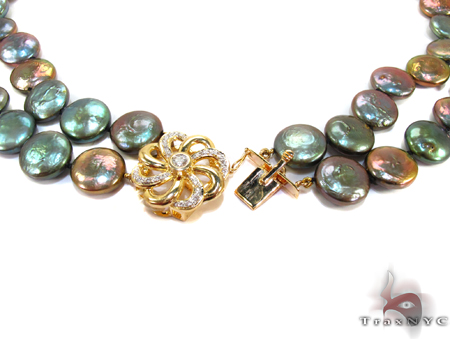 Double Strand Black Coin Pearl Necklace Pearl