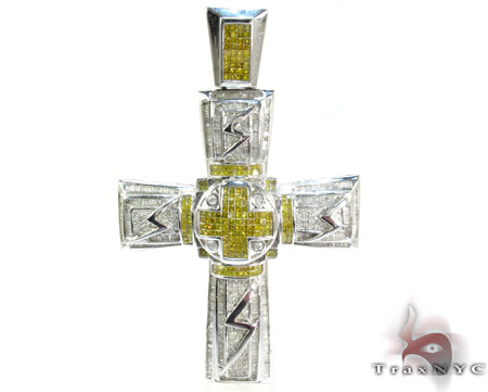 Dual Cross Colored Diamond Pendant Mens Diamond Cross