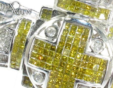 Dual Cross Colored Diamond Pendant Diamond