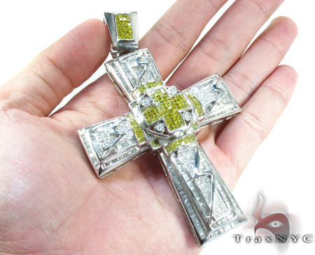 Dual Cross Colored Diamond Pendant Diamond