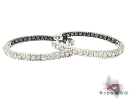 Oval Duplex Black and White Diamond Hoop Earrings Metal