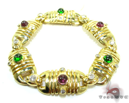 Eastern Ancient Style Ladies Bracelet Gemstone & Pearl