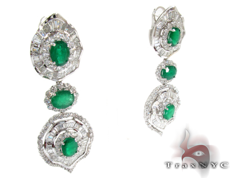 Emerald Diamond Drop Earrings Stone