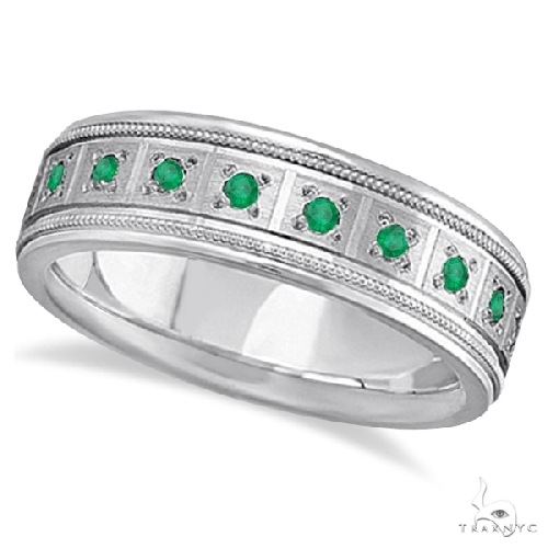 Emerald Ring for Men Wedding Band 14k White Gold Stone