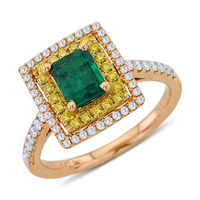 Emerald White and Fancy Yellow Diamond Gemstone Square Ring In 18K