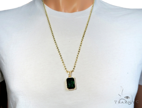 Fancy Green CZ Silver Pendant and Moon Cut Chain Set 49596 Metal
