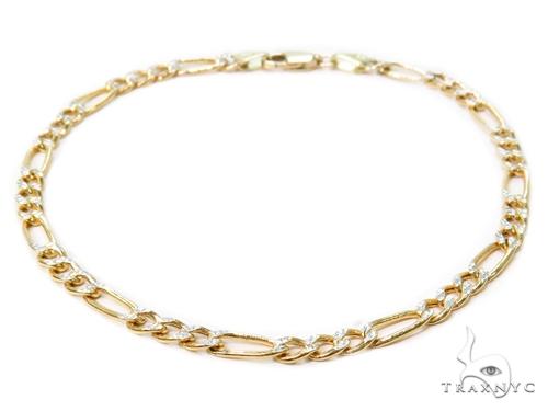 Figaro Diamond Cut Gold Bracelet 40983 Gold