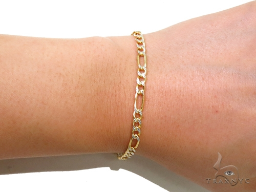 Figaro Diamond Cut Gold Bracelet 40983 Gold