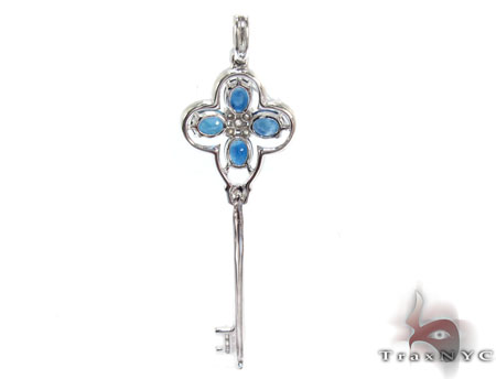 Flower Sapphire & Diamond Key Pendant Stone