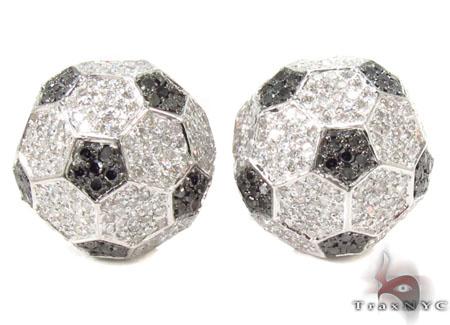 Football Black and White Diamond Earrings 31682 Stone