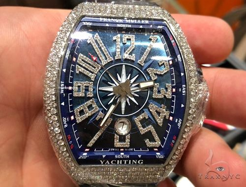 Franck Muller Vanguard Diamond Case & Numerals Blue Dial Yachting Watch 64716 Franck Muller フランクミュラー