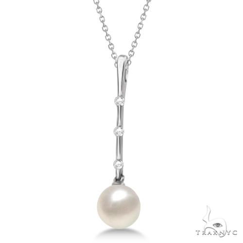 Freshwater Cultured Pearl and Diamond Drop Necklace Stone