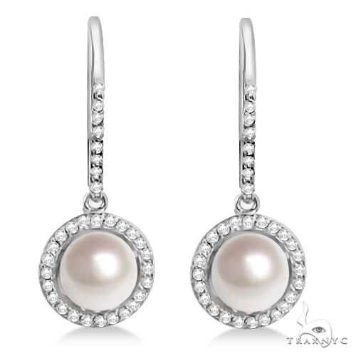 Freshwater Cultured Pearl and Diamond Halo Earrings 14K W. Gold (7.50-8mm) Stone