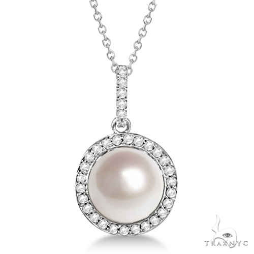Freshwater Cultured Pearl and Diamond Halo Pendant 14K W. Gold (9.50-10mm) Stone