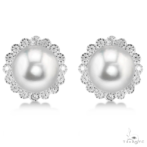 Freshwater Pearl and Diamond Halo Earrings Sterling Silver 8-8.5mm Stone
