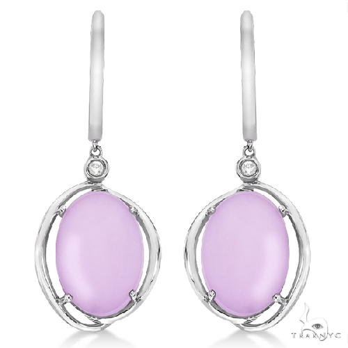 Frosted Pink Amethyst and Diamond Drop Earrings 14k White Gold Stone