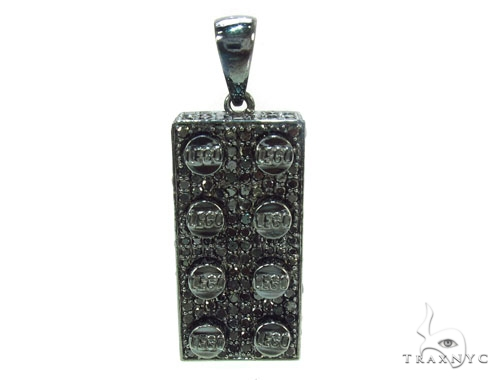 Full Black Diamond Lego Pendant Metal