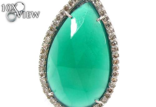 Green Chalcedony & Diamond Earrings 33744 Stone